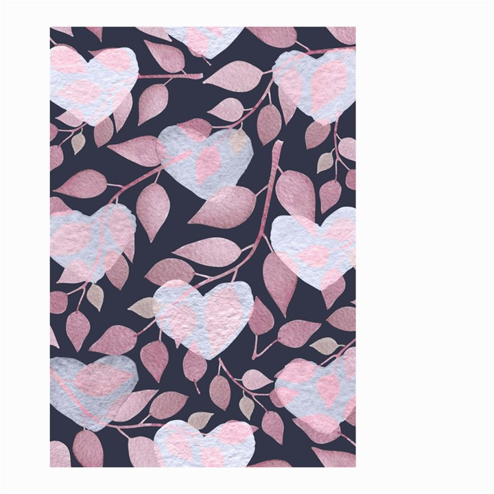 Navy Floral Hearts Small Garden Flag (Two Sides)