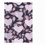 Navy Floral Hearts Small Garden Flag (Two Sides) Back