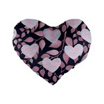 Navy Floral Hearts Standard 16  Premium Heart Shape Cushions Front