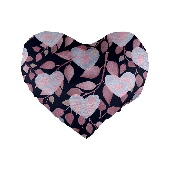 Navy Floral Hearts Standard 16  Premium Heart Shape Cushions