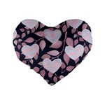 Navy Floral Hearts Standard 16  Premium Heart Shape Cushions Back
