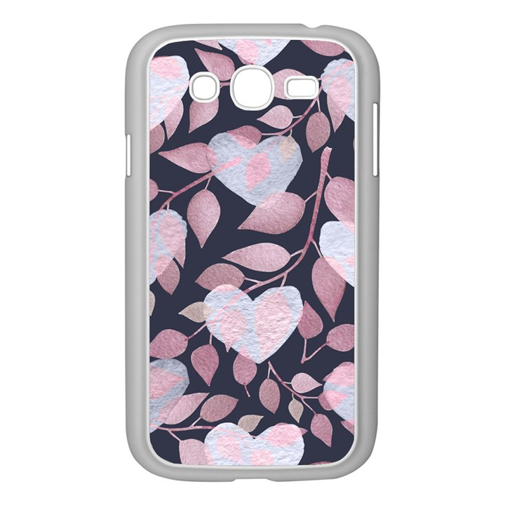 Navy Floral Hearts Samsung Galaxy Grand DUOS I9082 Case (White)