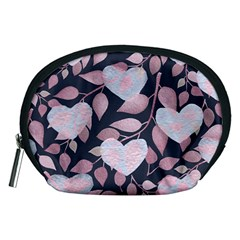 Navy Floral Hearts Accessory Pouch (medium) by mccallacoulture