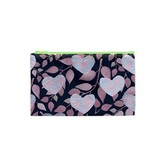 Navy Floral Hearts Cosmetic Bag (xs) by mccallacoulture