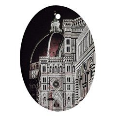 Santa Maria Del Fiore  Cathedral At Night, Florence Italy Oval Ornament (two Sides) by dflcprints