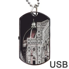 Santa Maria Del Fiore  Cathedral At Night, Florence Italy Dog Tag Usb Flash (two Sides) by dflcprints