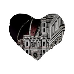Santa Maria Del Fiore  Cathedral At Night, Florence Italy Standard 16  Premium Heart Shape Cushions by dflcprints