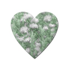 Green And White Textured Botanical Motif Manipulated Photo Heart Magnet by dflcprintsclothing