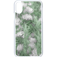 Green And White Textured Botanical Motif Manipulated Photo Iphone Xs Seamless Case (white)