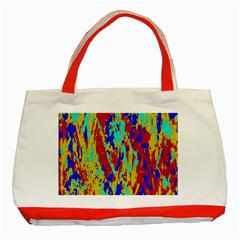 Multicolored Vibran Abstract Textre Print Classic Tote Bag (red)