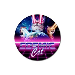 Cosmic Cat Rubber Round Coaster (4 Pack)