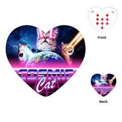 Cosmic Cat Playing Cards Single Design (heart)