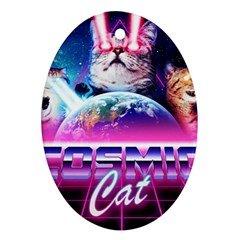 Cosmic Cat Oval Ornament (two Sides)