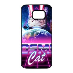 Cosmic Cat Samsung Galaxy S7 Edge Black Seamless Case