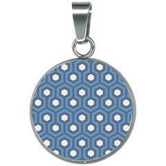 Blue Hexagon 20mm Round Necklace