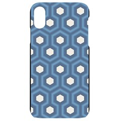 Blue Hexagon Iphone Xr Black Uv Print Case
