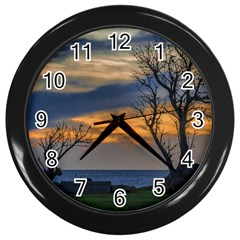 Sunset Scene At Waterfront Boardwalk, Montevideo Uruguay Wall Clock (black) by dflcprints