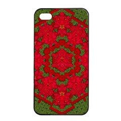Bloom In Yule  Mandala Season Colors Iphone 4/4s Seamless Case (black) by pepitasart