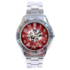 Merry Christmas Ornamental Stainless Steel Analogue Watch