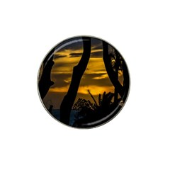 Silhouette Sunset Landscape Scene, Montevideo   Uruguay Hat Clip Ball Marker by dflcprints