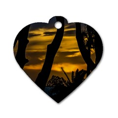 Silhouette Sunset Landscape Scene, Montevideo   Uruguay Dog Tag Heart (two Sides) by dflcprints