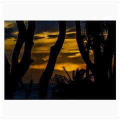 Silhouette Sunset Landscape Scene, Montevideo   Uruguay Large Glasses Cloth by dflcprints