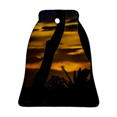 Silhouette Sunset Landscape Scene, Montevideo   Uruguay Bell Ornament (two Sides) by dflcprints