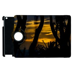 Silhouette Sunset Landscape Scene, Montevideo   Uruguay Apple Ipad 3/4 Flip 360 Case by dflcprints