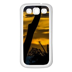 Silhouette Sunset Landscape Scene, Montevideo   Uruguay Samsung Galaxy S3 Back Case (white) by dflcprints