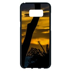 Silhouette Sunset Landscape Scene, Montevideo   Uruguay Samsung Galaxy S8 Plus Black Seamless Case by dflcprints
