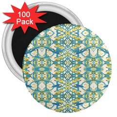 Colored Geometric Ornate Patterned Print 3  Magnets (100 Pack) by dflcprintsclothing