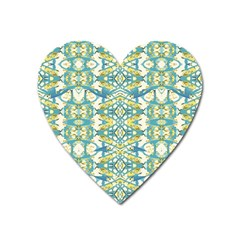 Colored Geometric Ornate Patterned Print Heart Magnet by dflcprintsclothing