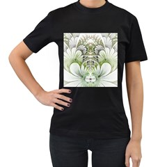Fractal Delicate White Background Women s T Shirt (black) (two Sided)