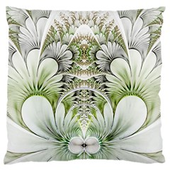 Fractal Delicate White Background Large Flano Cushion Case (two Sides)