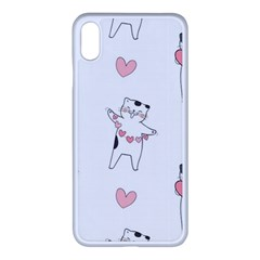 Seamless Pattern Cute Cat With Little Heart Hearts Iphone Xs Max Seamless Case (white)