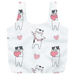 Seamless Pattern Cute Cat With Little Heart Hearts Full Print Recycle Bag (xxl)