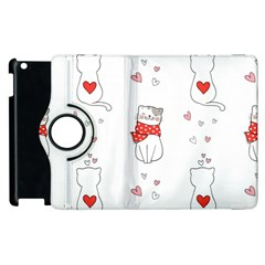 Seamless Pattern Cute Cat With Little Heart Apple Ipad 3/4 Flip 360 Case by Wegoenart