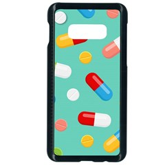 Pills Medicines Seamless Pattern Blue Background Samsung Galaxy S10e Seamless Case (black)