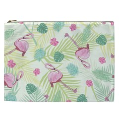 Beautiful Seamless Vector Tropical Pattern Background With Flamingo Hibiscus Cosmetic Bag (xxl) by Wegoenart