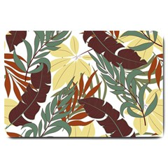 Botanical Seamless Tropical Pattern With Bright Red Green Plants Leaves Large Doormat  by Wegoenart