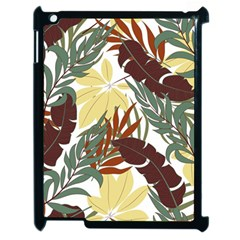Botanical Seamless Tropical Pattern With Bright Red Green Plants Leaves Apple Ipad 2 Case (black) by Wegoenart
