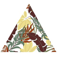 Botanical Seamless Tropical Pattern With Bright Red Green Plants Leaves Wooden Puzzle Triangle by Wegoenart