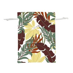 Botanical Seamless Tropical Pattern With Bright Red Green Plants Leaves Lightweight Drawstring Pouch (l) by Wegoenart
