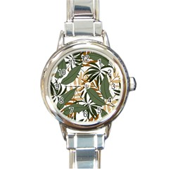 Botanical Seamless Tropical Pattern With Bright Green Yellow Plants Leaves Round Italian Charm Watch by Wegoenart