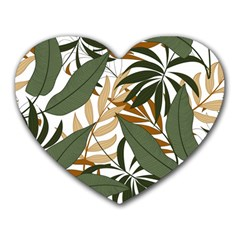 Botanical Seamless Tropical Pattern With Bright Green Yellow Plants Leaves Heart Mousepads by Wegoenart