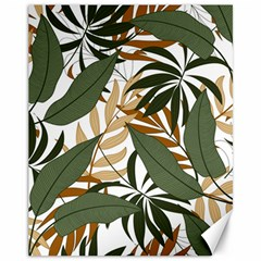 Botanical Seamless Tropical Pattern With Bright Green Yellow Plants Leaves Canvas 11  X 14  by Wegoenart