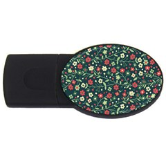 Flowering Branches Seamless Pattern Usb Flash Drive Oval (4 Gb)