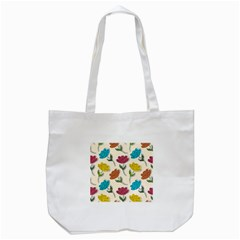 Pattern With Paper Tulips Tote Bag (white) by Wegoenart