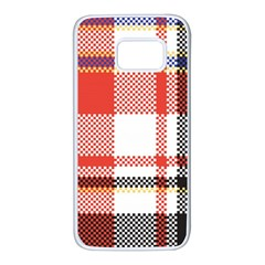Plaid Mosaic Pixel Seamless Pattern Samsung Galaxy S7 White Seamless Case by Wegoenart