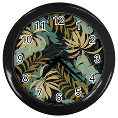 Fashionable Seamless Tropical Pattern With Bright Red Blue Plants Leaves Wall Clock (black) by Wegoenart